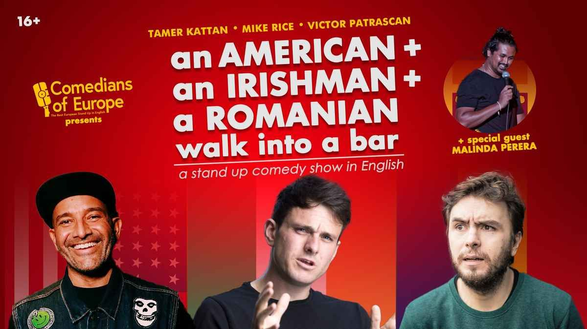 English Stand up Comedy • American, an Irishman and a Romanian walk into a bar event impressions #1